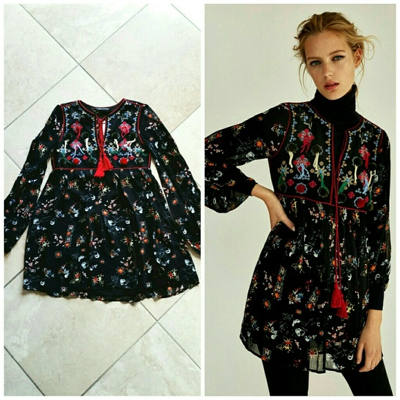89f1cbfe Zara Dresses | Embroidered Dress With Pom Poms And Tassel | Poshmark
